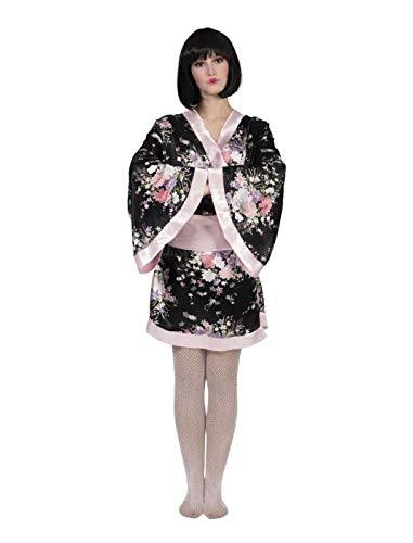 Japanerin Kostüm Kiwi 36/38 Kimono schwarz/rosa Fasching Geisha Asiatin - Rosa Und Schwarz Kostüm