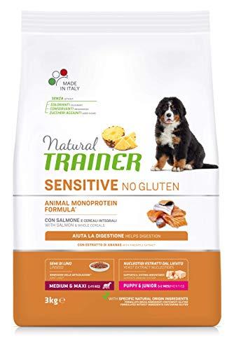 Natural Trainer Sensitive No Gluten - Cibo per Cani Medium&Maxi Puppy&Junior con Salmone e Cereali Integrali 3kg