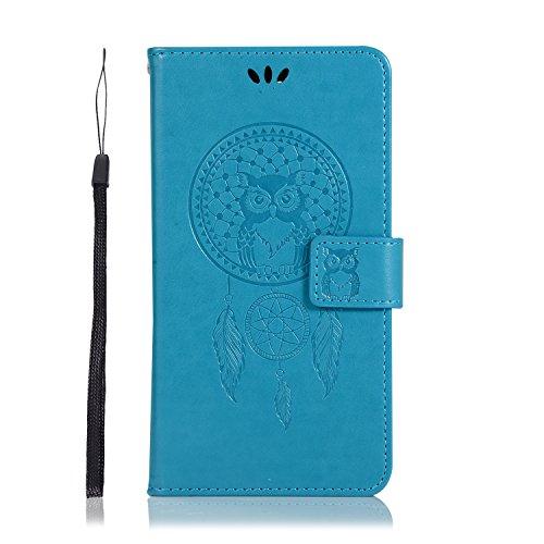 miaycases Kompatibel mit Nokia 2.1 Hülle, Premium PU Leder Klapphülle mit Kartenfach, Vorne und Hinten Schutzhüllefür(Eulenmuster) (4, Nokia 2.1)