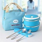 Lunch Box Schule Kinder 304 Edelstahl Lebensmittelbehälter Kunststoff Bento Box Thermische Lunchbox Küche Blue 2 Layer