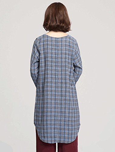 MatchLife Femmes Retro Plaid Chemise Manches Longues Robe Bleu Clair