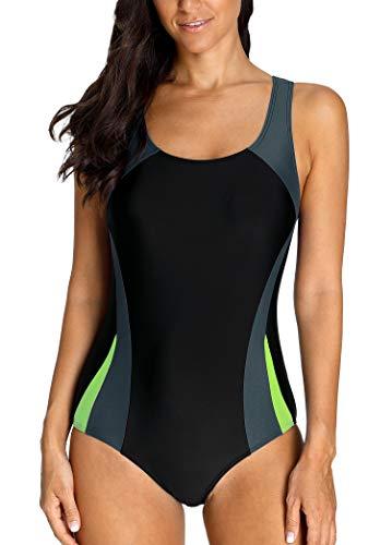 Charmo Damen Sportlicher Einteiler Badeanzug Racer Back Schwimmanzug Figuroptimizer Bademode mit Polsterung, Grau, L