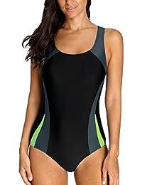 Charmo Damen Sportlicher Einteiler Badeanzug Racer Back Schwimmanzug Figuroptimizer Bademode mit Polsterung