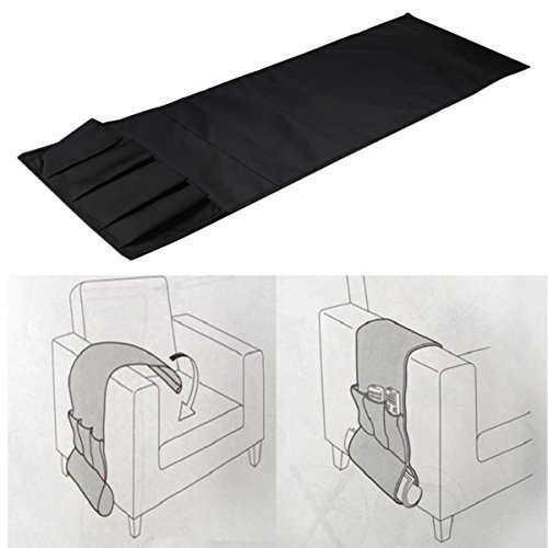 Gugutogo Sofa Couch Stuhl Armlehne Caddy Pocket Organizer Aufbewahrungstasche Multi Sockets für Bücher Handys Fernbedienung (Farbe: schwarz) - Socket-caddy