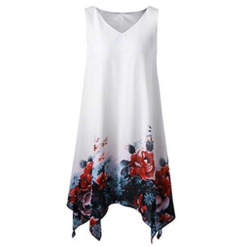 Kleid Damen,Binggong Frauen Plus Size Blumendruck Chiffon ärmellose unregelmäßige Hem Minikleid (5XL, Weiß)