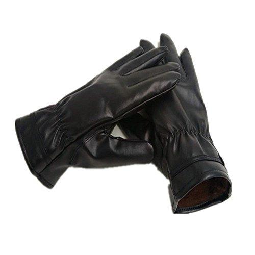 OFT Unisex PU Leder Warm Handschuhe Driving Gloves Velvet Winddicht Motorrad-Handschuhe Touchscreen Smartphone für Frauen-Dame und Herrren-Mann (schwarz)