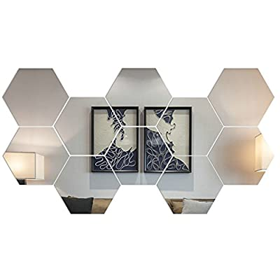 Soledi (Pack of 10pcs) New Cute Plastic Silver regular hexagon Mirror Wall Stickers Home Art Room Bedroom Office Decor Decoration DIY Decals --20CM - cheap UK light shop.