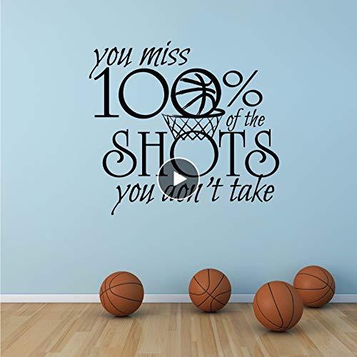 Dwqlx Motivational Sports Quote Wall Decal Basketball Sport Zeichen Wandaufkleber Sie Verpassen 100% Schüsse, Die Sie Nicht Nehmen Vinyl Wall Art 57 * 52 Cm (Halloween-zeichen Eine Sie Nehmen)