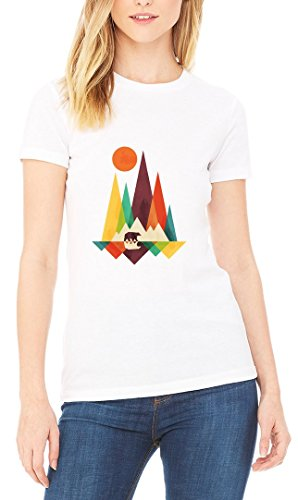 Mountains Minimalistic Bear Women's T-shirt Blanc