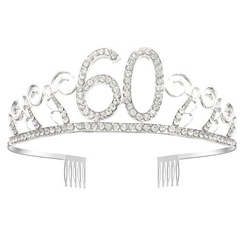 GreeStore Tiara/Diadem zum 60.Geburtstag, mit klarem Strass und Haarkamm, silberfarben