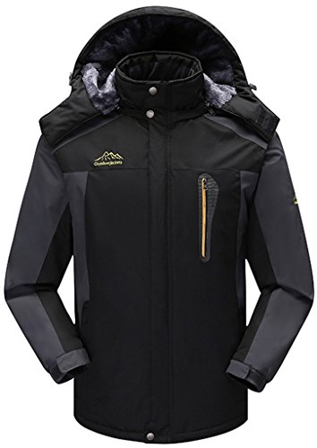 Sawadikaa Anorak Veste de Sport Coupe Vent Imperméable Veste Polaire Veste de Ski Randonnée Manteau Homme Noir