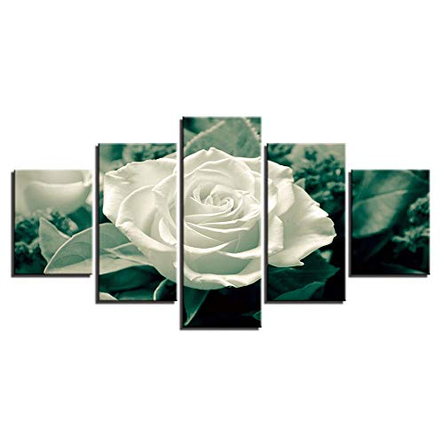 Fbhfbh Moderne Bilder Gerahmte Poster Hauptdekoration 5 Stücke Weiße Rose Blume Wand Kunstwerk Wohnzimmer HD Gedruckt Modulare Malerei-8 x 14/18/22inch,With frame