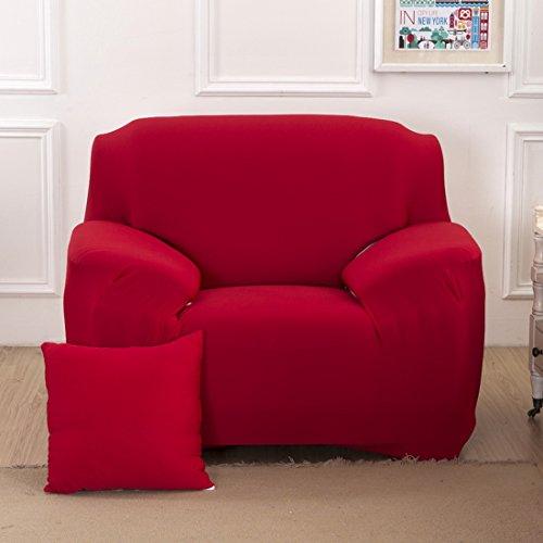Chlove Sofabezug Elastische Sofa Abdeckung Sofaüberwurf Sesselhusse Stretchhusse (1 Sitzer, 90-140cm, Rot)