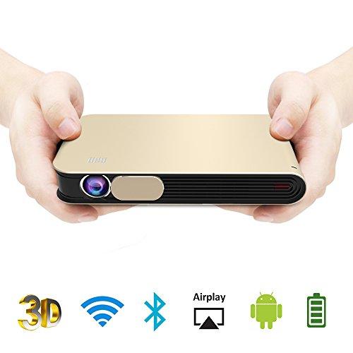WOWOTO DLP Mini Beamer 3D Full HD LED Projektor 3500 Lumens Unterstützt 1080p mit Metallkapselung Android 4.4 OS WiFi HDMI USB AV Bluetooth AirPlay für Laptop Handy Tablet PC TV PS4 XBOX Heimkino Videoprojektor