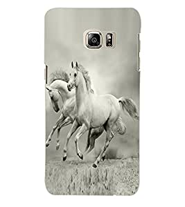 Colourcraft White Horse Pair Back Case Cover For Samsung Galaxy S6 Edge Plus