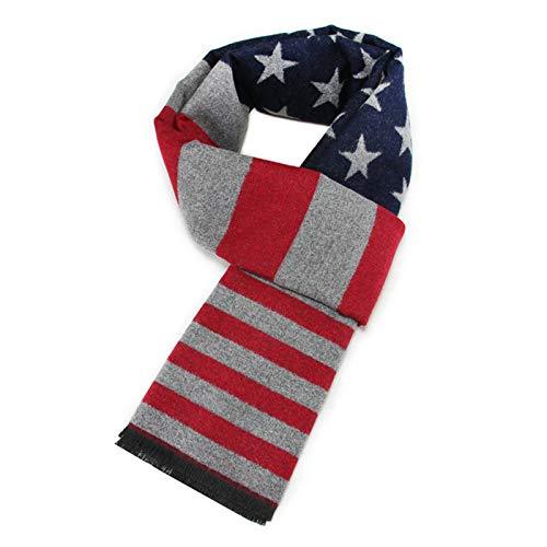 ANAZOZ Bufandas Algodón Hombre Niño United States Bandera Rojo Marina Gris 180cm Otoño Invierno Bufanda...