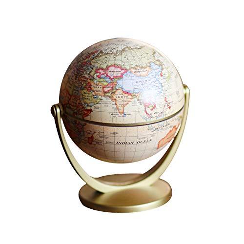 """Jushi Mapa del Mundo Antiguo Globo 4.7"""" Plastic Geografía Globo de los Regalos Decor niños Juguetes educativos Rotación Globo del Escritorio"""