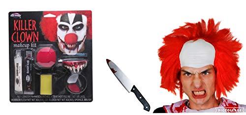 Seemeinthat Halloween Killer Clown Haarteil Zähne Set rote Nase Fake Kunststoff Messer Make-up Kostüm Zubehör