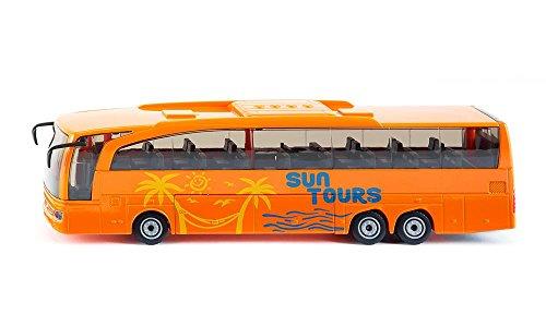 SIKU 3738, Mercedes-Benz Travego Reisebus, 1:50, Metall/Kunststoff, Orange, Öffenbare Türen und Klappe