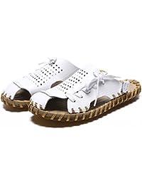 837b89c4b741a ZJM-Sandalo estivi da uomo Sandalo da spiaggia Calzature chiuse Realizzate  morbide scarpe da pescatore antiscivolo in vera pelle (Colore   Bianca