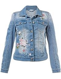 GINA LAURA Damen   Jeansjacke   Blumen-Stickerei   Größe 38-52   Schmaler  Schnitt, Kurze Form   Jeans  … 2438cdad1d