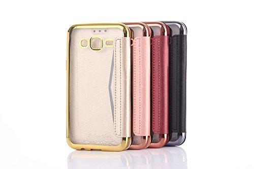iphone 7 Hülle,iphone 7 Leder Flip Wallet Hülle,Plating TPU Cover Bumper Tasche Premium Ultra Slim Handyhülle für iphone 7 Rose Gold Schwarz