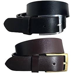 El Multi-paquete Blanco y Negro para Hombres BRADLEY CROMPTON (Set de 2 Cinturones) Paquete Gemelo con Cinturones Casuales y Formales de Genuino y Completo Cuero Natural (105 cm / 38 Inches)