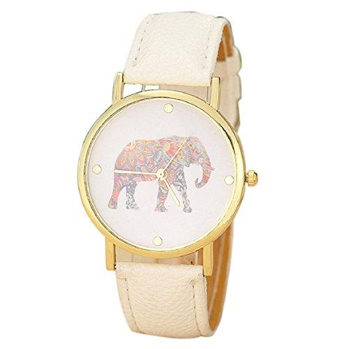 Culater® Frauen Mädchen Elefant Muster Gold Quarz Armbanduhr Uhr