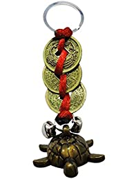 Ratnatraya Feng Shui Tortoise With Three Chinese Coins Tied In Red Ribbon Keychain Key Ring For Longivity, Wealth...