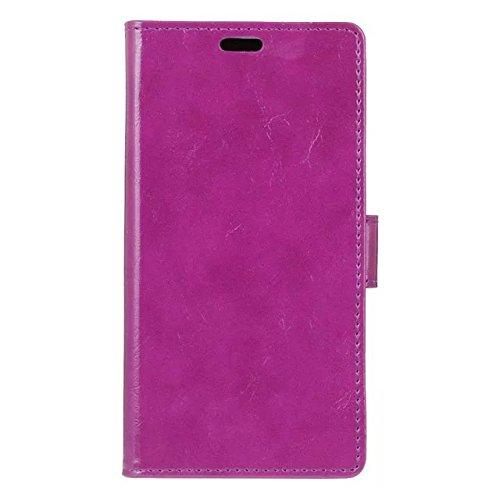 Vodafone Smart Mini 7 Gehäuseabdeckung, Solid Color Premium Leder Gehäuseständer Wallet Case mit Kartensteckplätzen für Vodafone Smart Mini 7 ( Color : White , Size : Vodafone Smart Mini 7 ) Purple