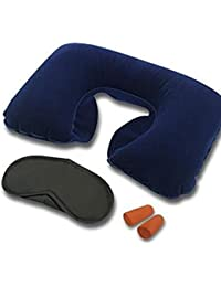 Buyerzone Very Useful 3 In 1 Air Travel Kit Combo - Pillow , Ear Buds & Eye Mask