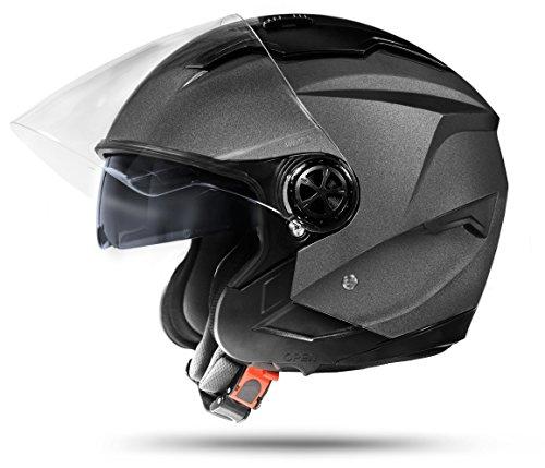 Preisvergleich Produktbild ATO-Moto LA Street Jet Helm Grau Größe: XL 61cm + Doppelvisier System + Integrierte Visiermechanik + 4 punkt Belüftung und neuste Sicherheitsnorm ECE 2205