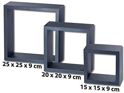 3 étagères murales cubes - Noir