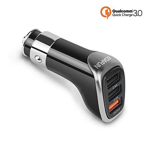 AOAFUN Caricabatteria da auto Quick Charge 3.0 42W 3 USB Adattatore di ricarica universale per Samsung Galaxy s8/S7/S7 Edge/S6/Edge + Nexus 6P/5X e altro (nero)