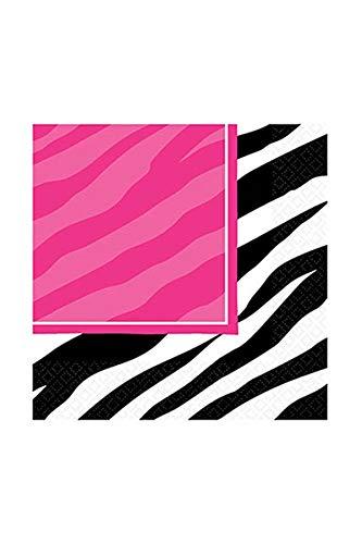 Generique - 16 Serviettes en Papier Zèbre Rose et Noir 33 x 33 cm Zebra Rose