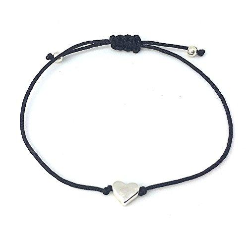 Filigranes Herz Armband Silber - Schwarzes Textil Band mit Silberfarbenem kleinen Herz - Handmade -