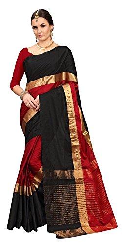 Saree Center Cotton Silk Saree With Blouse Piece (Sc_Angiblackred_Multi-Coloured_Free Size)