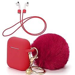 OOTSR Schutzhülle mit süßem Pompon-Ball-Schlüsselanhänger kompatibel mit Apple AirPods-Ladekoffer, voller Silikonhülle und Anti-Lost-Strap für Apple AirPods als Geschenke (Rot)