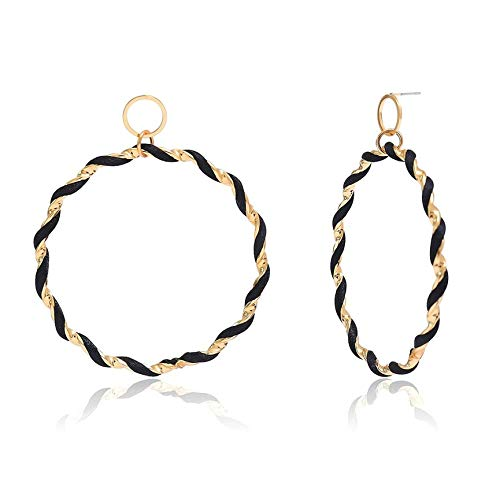 VCB Spiral Design Big Hoop Earrings Boucles d'oreilles Sexy Accessoires  Boucle d'oreille Bijoux - Noir & Or