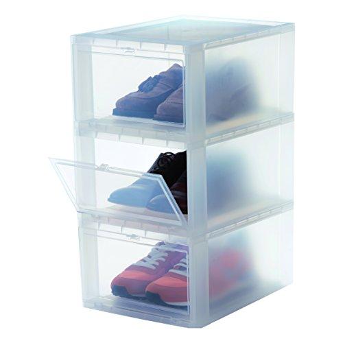IRIS, 3er-Set Schuhboxen / Aufbewahrungsboxen für Schuhe \'Drop Front Box\', EUDF-M, Kunststoff, transparent, 35,5 x 28 x 18 cm