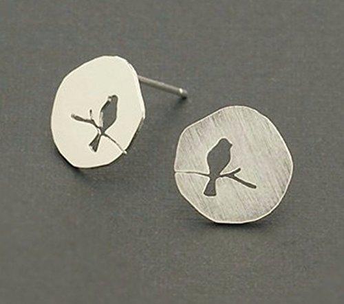 Selia Vogel auf Ast Ohrring Bird on a tree Ohrstecker silber brushed gebürstet Optik handgemacht Modeschmuck Schmuck, minimal, studs