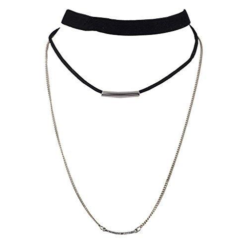 Lux Accessoires und in Farbe Silber Triple Layer aus Schwarzem Samt Halskette