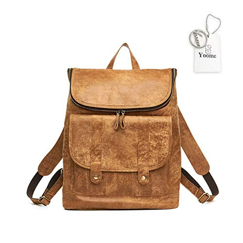 Yoome Vintage Kuhleder Laptop Rucksack Reiserucksack Schule College Tasche Wochenender Daypack für Damen und Herren