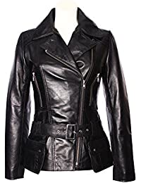 3231d8abcc908 Ladies Women Fitted Black Nappa Real Soft Waxed Effect Real Leather Jackets