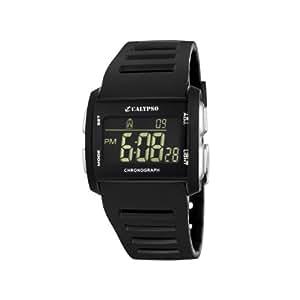 Calypso - K5555/4 - Montre Garçons - Quartz - Digitale - Eclairage-Chronomètre-Temps intermédiaires-Alarme - Bracelet Caoutchouc Noir