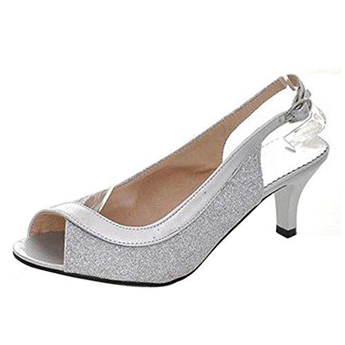 TAOFFEN Damen Mode-Event Kitten Heel Party Glitter Sandalen Mid Heel Peep-toe Slingback Schuhe Silber