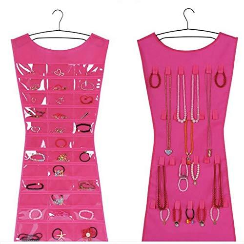 Xixini Schmuck Organizer Tasche, Socken BH Unterwäsche Lagerung 36 Taschen 24 Haken Double-Side Schmuck Beutel Aufbewahrungstasche für Tür Schrank Schrank (Pink) - Schmuck Organizer Beutel