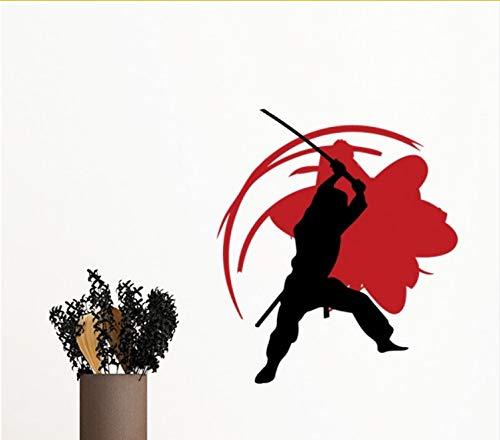 (Kyzaaa Kongfu Bushido Samurai Sakura Silhouette Asien Entfernbare Wandaufkleber Kunst Aufkleber Wandbild Diy Tapete Für Zimmer Aufkleber)