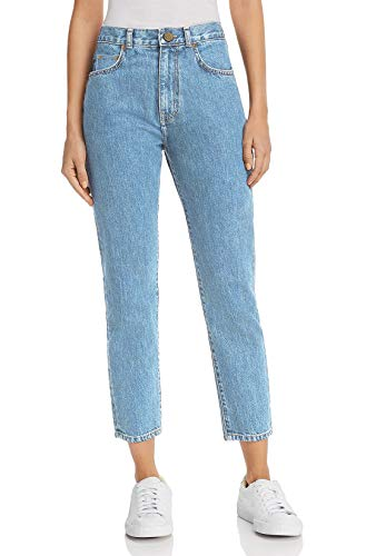 Mom jeans donna a vita alta boyfriend stile loose cropped pantaloni casual in denim moda vintage classica lavaggio chiaro it 46