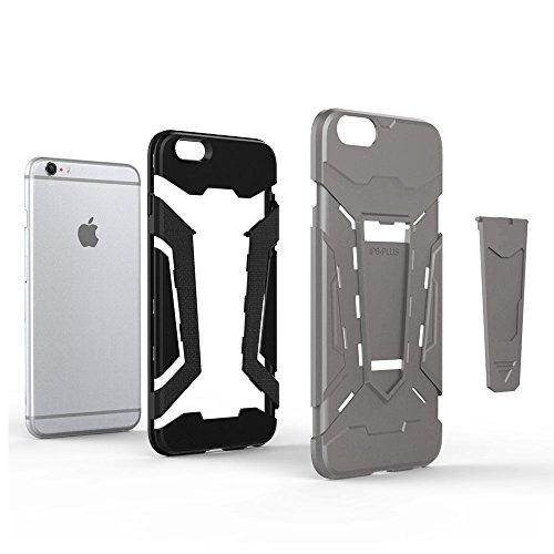 Cover iPhone 6s plus Custodia iPhone 6 plus Hard Anfire Belt Clip Holster Kickstand Case Cover per iPhone 6 plus / 6s plus (5.5 Pollici) Ultra Sottile Liscio Opaco Antiurto Protettivo Bumper Paraurti  Gray